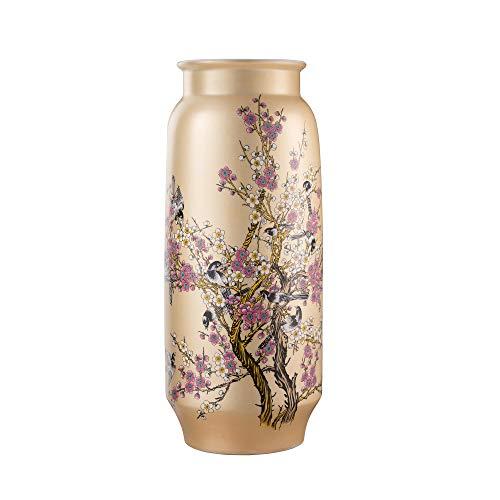"""ufengke Pflaumenblüte Große Bodenvase Gelbe,Handgemachte dekorative Vase,Hohe Keramik Vase für Blume,Höhe 19\"""""""