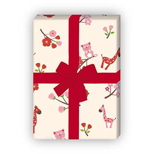 Kartenkaufrausch 4 vellen - schattig kinder/baby cadeaupapier set met uilen, katten en giraffen voor lieve geschenkverpakking, patroonpapier, decoratiepapier om te knutselen 32 x 48 cm, roze op geel