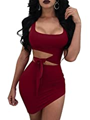 Refer to Amazon Size Chart Polyester and Spandex Stretch fabric and soft feeling Waist cut out and can be tied into a bow Suitable for:club party outdoors special occasions