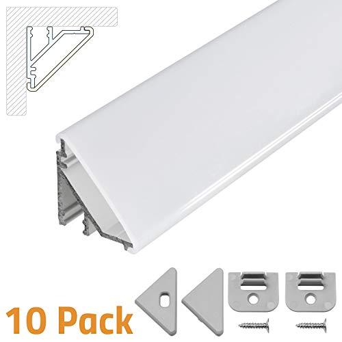 LED Eckprofil V24, Set 10x100cm, LED Alu Profile 45 Grad Ecke Aluminium für LEDs Strip als Streifen Lichtleiste
