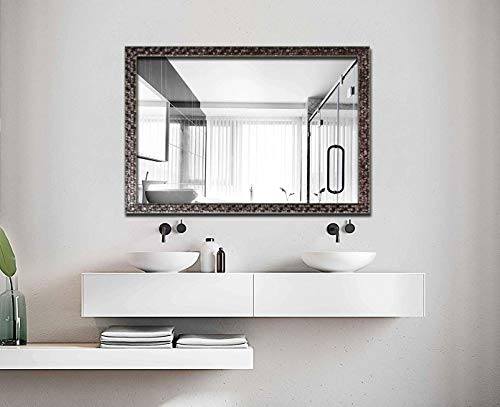 H & A Large Bathroom Mirror, Wall-Mounted Wooden Frame Vanity Mirror Black -