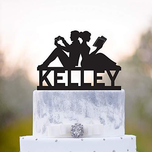 Custom gaming wedding book lover cake topper,game controller book worm topper,book nerd cake topper,video game bookish wedding topper,a405