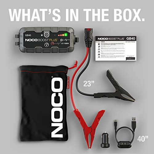 NOCO Boost Plus GB40 1000 Amp 12-Volt UltraSafe Portable Lithium Jump Starter, Car Battery Booster Pack, And Jump Leads…