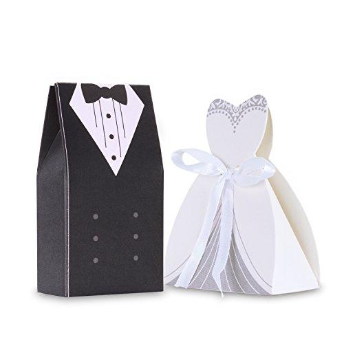Wolfteeth 100 pz scatoline portaconfetti bomboniere Matrimonio Carta Scatole per Confetti-50 Pezzi Sposa(con nastrino) & 50 Pezzi Sposo