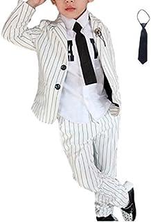 (カエナリエ) 子供 男の子 フォーマル スーツ ストライプ 柄 ブローチ 蝶ネクタイ 4点セット