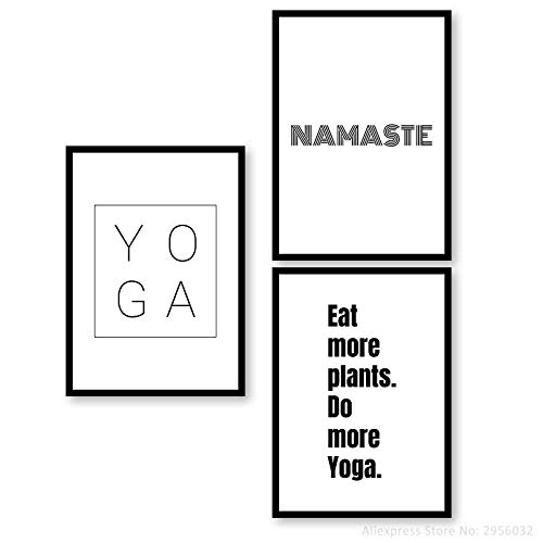 Namaste Eat More Plant Do More Yoga Print Quotes Minimalist Typography Wall Canvas Art Pilates Art Yoga Studio Poster Decoración para el hogar sin marco