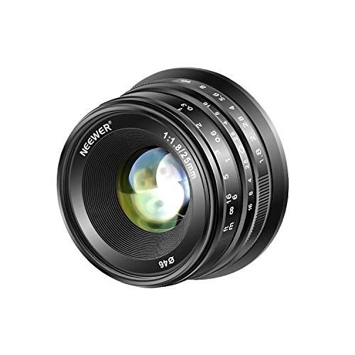 Neewer 25mm f/1.8 Obiettivo Primario Focale Fissa Focus Manuale per Fotocamere Mirrorless Digitali APS-C Fujifilm XPro2 XE3 XH2 X100T X100S XH1 XF2 XPro1, Completamente in Metallo (Nero)