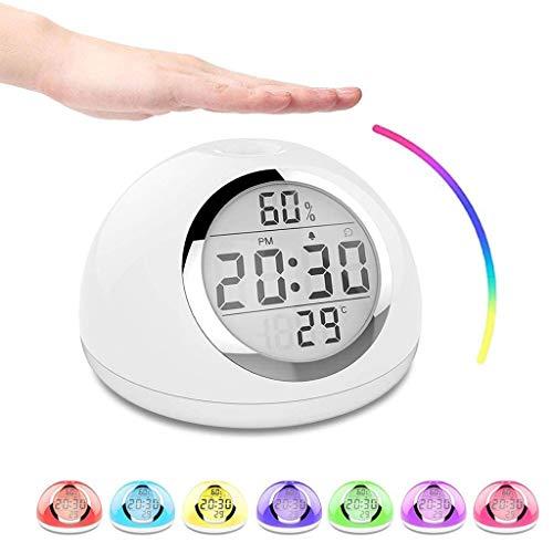WQTT Awakening Light 7 kleuren Awakening Light Nachtlampje LED RGB Multifunctionele wekker Tafellamp Functie Snooze Zonsopgang Geluiden Natuurlijk huis