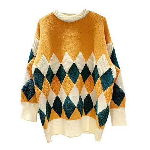 Esdlajks Suéteres de para Mujer Suéter Mujer otoño/Toalla de Invierno suéter Bordado Top geométrico rombo Jacquard (Color : Orange, Size : One Size)