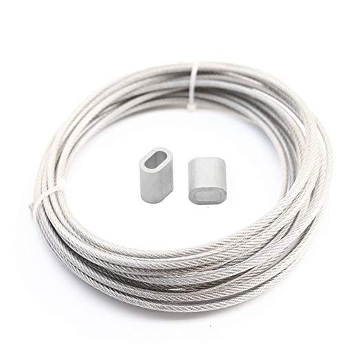 Cable Acero Trenzado,Cable De Alambre 5 Meter cuerda de alambre de PVC transparente revestido de la cuerda de cable de acero inoxidable Tendedero Diámetro 0,8 mm 1 mm 2 mm 3 mm 1,5 mm Cuerda De Acero