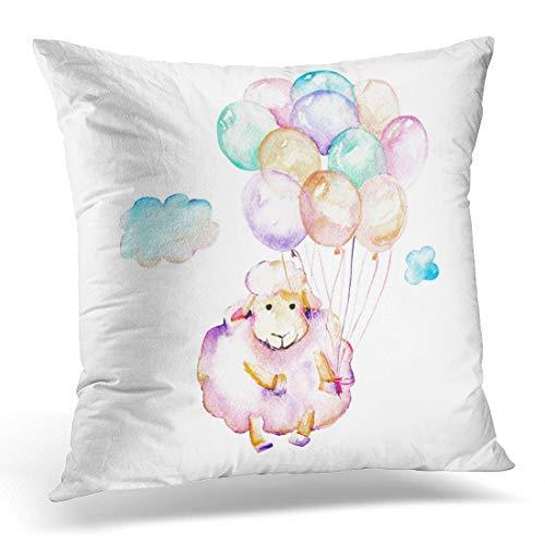 Funda de almohada con diseño de ovejas y globos de aire y nubes, color morado, cordero y acuarela, diseño de animales, color blanco, rojo, funda de almohada cuadrada de 45,7 x 45,7 cm