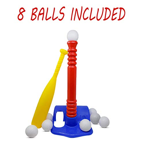 T-ball Set / Kids Tee Ball - With 8 Balls - Baseball Toy - Batting Tee - Develops and Improves Baseball, Softball, Wiffle Ball Skills for Boy's and Girl's - Children / Toddlers Ages 1-12