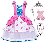 YOSICIL Disfraces de Princesas Para Niñas 3 a 8 Años Disfraces de Bo Peep con 6Pcs Accesorios Set Vestido de Princesa para Cosplay Navidad Cumpleaños Carnaval Halloween