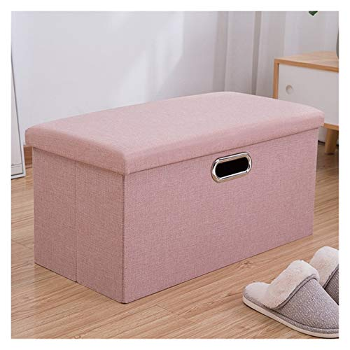Folding Storage Footstool, With Storage Bench Shoe Box Coffee Table And Removable Lid For The Living Room,Storage Boxes,Footstools And Pouffes (Color : Lotus root powder, Size : 40 * 25 * 25)