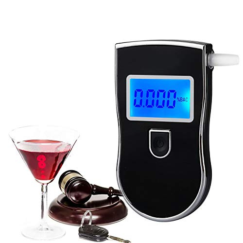 Breathalyzer,DOODBI Professional Alcohol Tester,Portable and Easy for Personal Use Alcohol Breathalizer with Digital LCD, 20 mouthpieces and 1 Store Bag