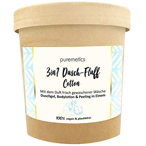 puremetics 3in1 Dusch-Fluff (250g) | Duschgel, Peeling und Lotion in Einem | 100% vegan & plastikfrei | pflegend, hautverfeinernd & glättend | ohne Mikroplastik | Zuckerpeeling (Clean Cotton)
