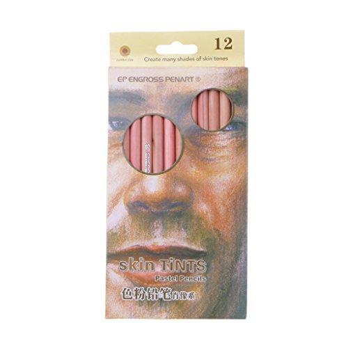 siwetg Lápices De Colores Pastel Suaves Profesionales De 12 Piezas Lápiz De Color De Piel con Tinte De Madera