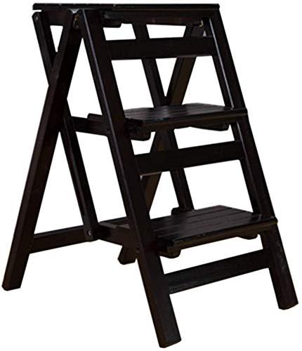 STOOL Escalera con peldaños Taburetes con peldaños para el hogar, taburete plegable multifuncional Escalera Silla con 3 peldaños para el hogar Escalera de madera con carga máxima ensanchada 120 kg Tr