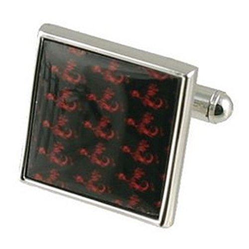 Select Gifts Manschettenknöpfe Manschettenknöpfe Fische~ Muster Tapete roter und schwarzer Grafik Quadrat graviert Personalisierte Box
