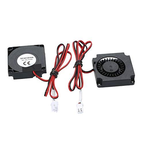 Aibecy Ventilador de 2 piezas Ventilador de refrigeración sin escobillas 40 * 40 * 10 mm DC 24V 2 cables con terminal de 2 pines Compatible con Anet ET4 ET4X ET4PRO Impresora 3D Extrusora Hotend