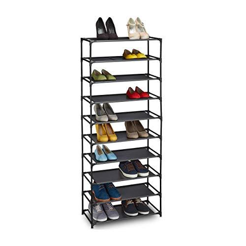 Relaxdays Étagère à chaussures, système d'emboîtement, tissu, 10 niveaux, pour 30 paires, 150x62x28cm, noir