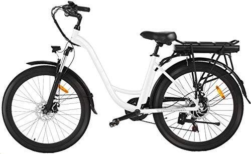 Speedrid Elektrofahrrad, Retro City E-Bike mit 36V-12.5 AH Lithiumbatterie und 250 W Motor, Pedelec im Barockstil mit 6 Gänge Schaltung für Damen und Herren(weiß)