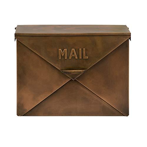 Benjara BM15926 Spacious Envelope Shaped Wall Mount Iron Mail Box, Copper Finish