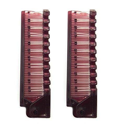 HAND® Pliant Petit Bourgogne Voyage Pocket Brosse Combs - Taille 10 cm Longtemps plié - Lot de 2