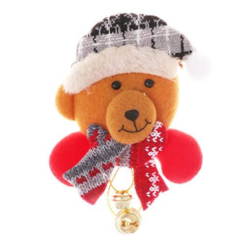 NUOBESTY Weihnachten Bär Brosche mit Glocken Anstecknadel Brosche Pins Weihnachtsschmuck Geschenk für Kinder Mädchen Frauen Kleidung