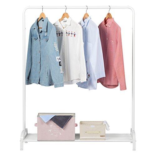 LANGRIA Stand Appendiabiti Robusta Moderna con Appendiabiti Singola e Scaffale Inferiore per Scarpe 120 x 45 x 160 cm (Bianco)