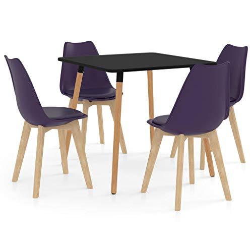 vidaXL Juego de Comedor 5 Piezas Muebles Restaurante Hogar Moderno Terraza Cocina Interior Mesa Silla Asiento Suave con Respaldo Morado Oscuro