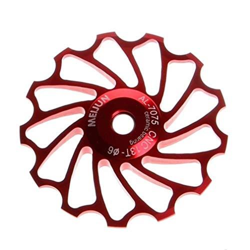 LECHI 13T MTB Gear Bike Accesorios de rodamiento de Bicicleta, Rueda Jockey de Aluminio, Rodillo guía de polea Trasero, 1 Unidad, Rojo
