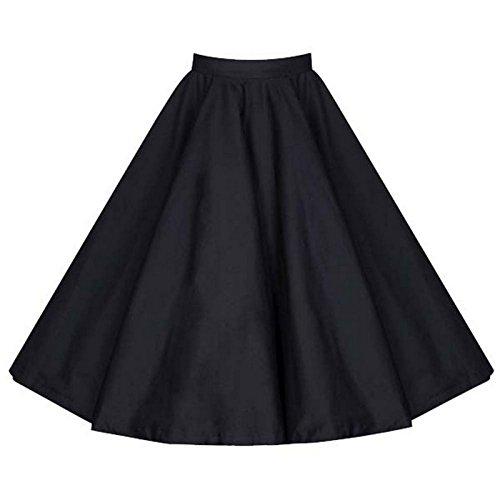 Beauty7 Damen Audrey Hepburn Rockabilly Stil Faltenrock Elegant Empire A-Linie Midirock Knielang Rock mit Druck Hohe Taille Glockenrock Casual Skirt Plus Size Schwarz - Größe: M(EU 40)