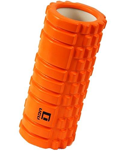フォームローラー 筋膜リリース トリガーポイント グリッド ミニ ストレッチローラー LICLI 「 マッサージ トレーニング ストレッチ ローラー ハーフ ヨガポール 」「 肩こり 腰痛 」 説明書つき 7色 (オレンジ)