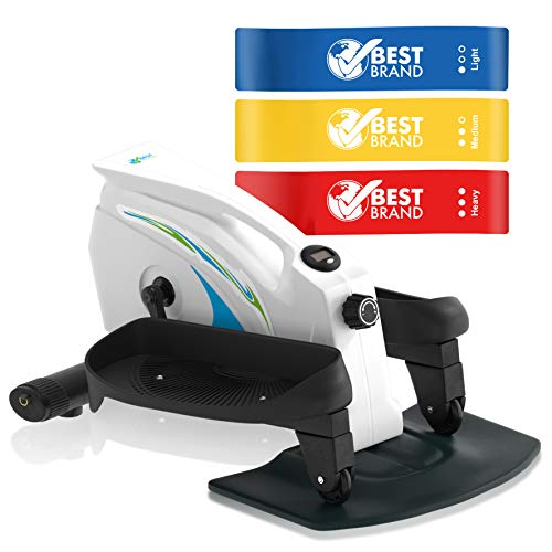 Under Desk Elliptical Exercise Stepper – Best Compact Machine for Home or Office – Mini Strider with Adjustable Resistance – Seated At Desk Elliptical
