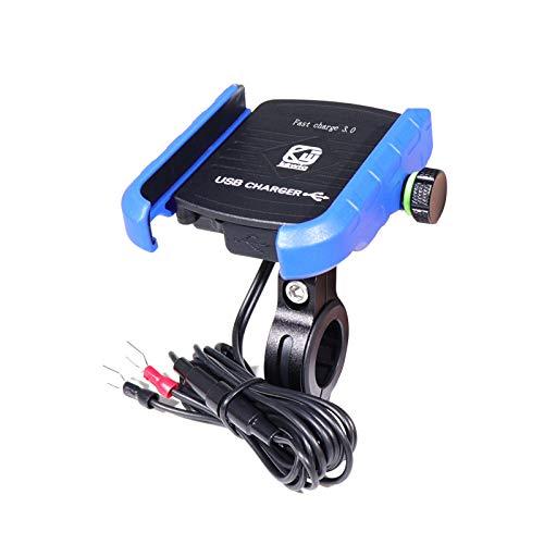 bysonice Soporte para teléfono de motocicleta, resistente al agua, 12 V, para motocicleta, carga rápida, cargador inalámbrico, soporte de montaje