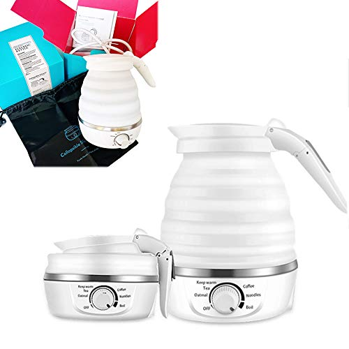 Travel Foldable Ultrathin Upgraded Electric Kettle Boil Dry Protection Rapid Boil Collapsible Electric Kettle Water Boiler Separable Power Cord handle Food Grade Silicone Auto Shift ,Temper Control Portable Travel Dual Voltage 100-120V/220-240V US plug Mini 0.6L White For Coffee Tea