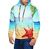 Starfish On The Beach Fleece Hoodies Sweatshirt, Unisex Novelty 3D Printed Pullover Fleece Hooded Long-Sleeve Sweatshirt Black