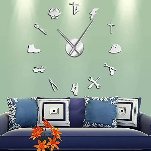 Reloj de Pared Herramientas de Electricista liniero silencioso Reloj de Pared de Bricolaje Espejo acrílico decoración de la Pared Reloj Reloj Regalo-Plata 27 Pulgadas