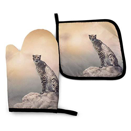 Gepard sitzt auf einem Steinofen Handschuhe und Topflappen, widerstandsfähige heiße Pads mit rutschfesten Grillhandschuhen aus Polyester für die Küche