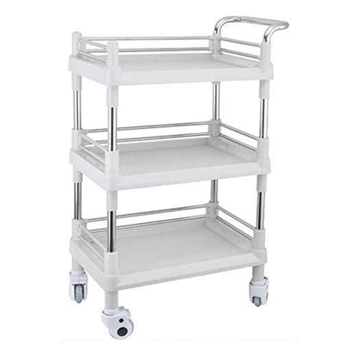 Home Trolley, Extra großer Friseurwagen 3-lagiger Werkzeugrahmen Multifunktionaler Aufbewahrungsbox-Trolley WeißWGWJ
