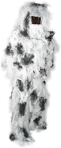 normani Taktischer 'Ghillie Suit' Tarnanzug mit Jacke, Hose, Kopf- und Gewehrabdeckung Farbe Schneetarn Größe XL/XXL
