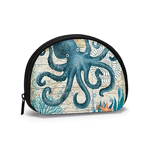 Monedero pequeño con forma de mariposa de árbol para mujer, linda bolsa de monedas para niña, mini monedero, bolsa de almacenamiento Shell Wallet, Monterey Bay Octopus, Talla única, Estuche de llaves