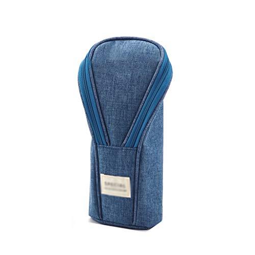 La caja de lápiz de pie bolsa de la bolsa de maquillaje de escritorio Organizador de almacenamiento a granel de la cremallera Carpeta soporte for teléfono móvil libro Gran capacidad ( Color : Blue )