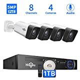Hiseeu 5MP PoE Security Camera System, 8CH Home Wired Security System with 1TB Hard Drive, 4pcs IP 5MP Outdoor Security Camera with Audio, Night Vision, Motion Alert, Onvif Compatible, No Monthly Fee