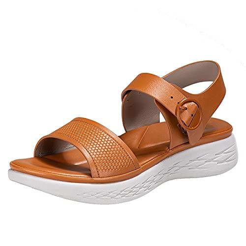 Zapatillas De Deporte Para Mujer Sandalias Cuña Playa Zapatos Ampliación Antideslizante Damas Verano Casual Diapositivas,Marrón,39EU