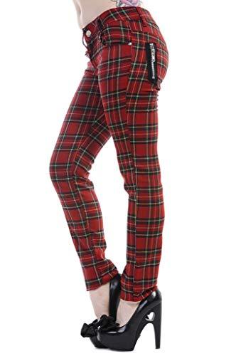 BANNED- Pantalones Ajustados Rojo Tartán a Cuadros Emo Punk