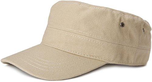styleBREAKER Cap im Military-Stil aus robustem Baumwollcanvas, verstellbar, Unisex 04023020, Farbe:Beige