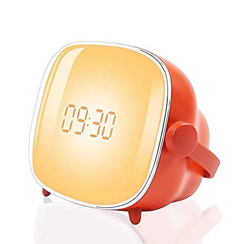 ZJH Wake-up Light Wecker Licht, Nachtnachtlicht mit Sonnenaufgang Simulationsfunktion, LCD regelbarer Beleuchtung Zeit und Helligkeit, Zwei Sätze von Alarm und Snooze-Funktion, USB-Lade