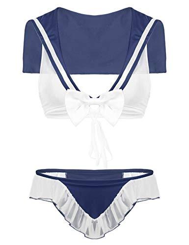 Alvivi 2Pcs Cosplay Costume da Marinaia Prospettiva Donna Completo Intimo Uniforme Scolastica Giapponese Lingerie Backless Crop Top con Ruffle Mutandine Underwear Navy_Blue M